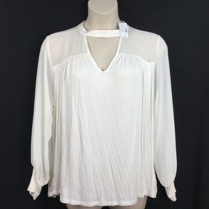 Maurices Cream Keyhole Knit Chiffon Illusion Top
